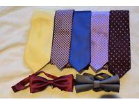 5 Silk Ties, and 2 Bow Ties: Various Brands