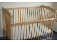 mothercare cot, c/w mattress