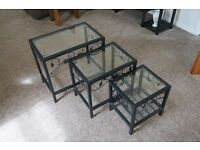 x 3 Black Mental - Glass Top Nest of Tables