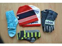 ski hats, gloves, socks