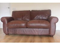 Designer JOHN LEWIS Madison 2 seater distressed brown leather sofa