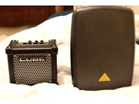 Roland Micro Cube GX + Behringer MPA40BT-PRO portable PA amp for musicians/buskers