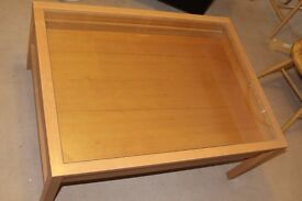 Beech effect Glass-top Display Coffee Table