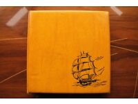 Vintage Large 80s Yellow Photo Album Embossed Ship Nautical Photos Included