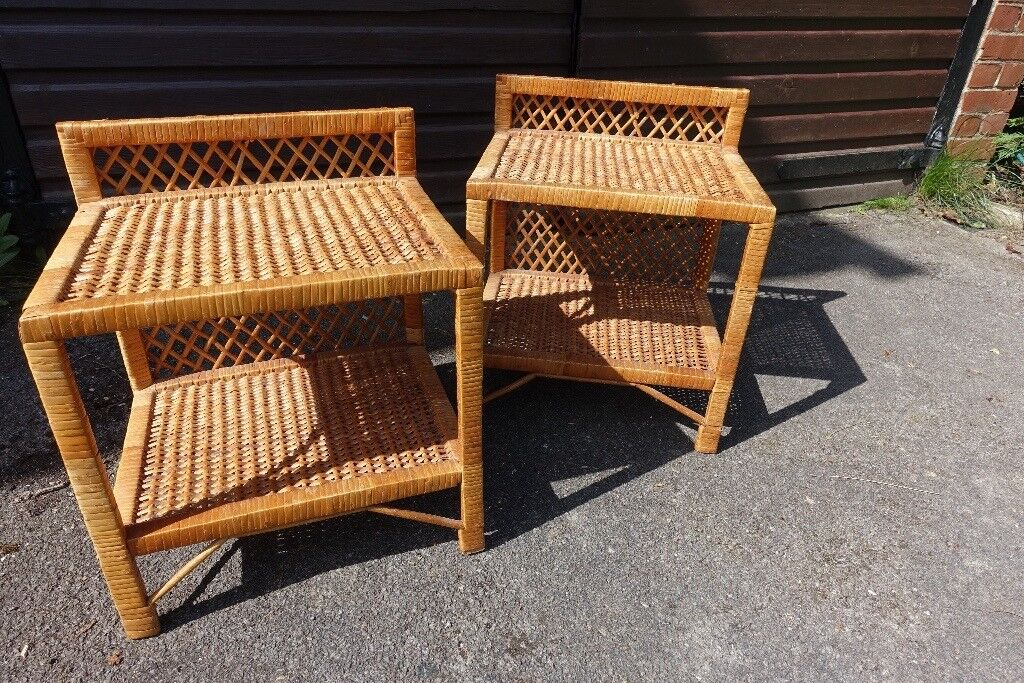 Pair Rattan Bedside Tables