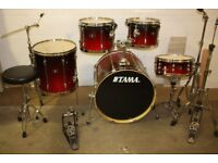 Tama Superstar Red to Black Fade 5 Piece Full Drum Kit (22in Bass) + All Stands + Stool + Cymbal set