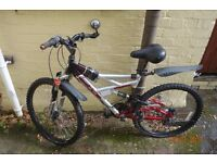 2 bicycles- mountain bikes 21 gear one light metallic blue Raleigh, one vertical silver and black