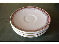 7 Ridgway Potteries Ltd white saucers 'A V Goodhew Ltd' with decorated border at rim. £3.50 ovno lot
