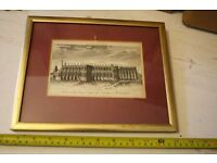 Small antique print of St. Georges chapel Windsor
