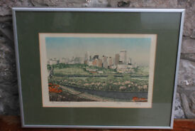 Vintage Framed Silk Print Edmonton, Alberta, Canada. Ltd Edition By George Weber Art Picture
