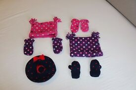 Selection of 3 baby girls hat and gloves sets, for ages 6-12 months