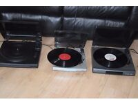 SONY PS-LX 56/KENWOOD P-28/BUSH MTT-1 STEREO 3 TURNTABLE 35 POUND EACH CAN BE SEEN WORKING