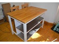Ikea Stenstorp kitchen island with 2 high chairs
