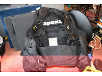 Apeks SB 2000 Diving BCD With various attachments, waterproof pencil and pad, hose clips, etc.