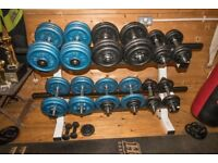 Weigh plates, dumbbells & storage rack 214.5kg in total