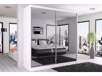 BRAND NEW PARIS 2 DOOR SLIDING WARDROBE WITH MIRROR IN 120cm 150cm 180cm 203cm 250cm Black White