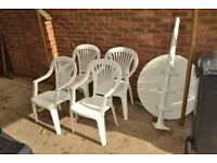 Garden Table & Chairs - White Plastic ***FREE**