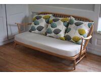 Stunning Vintage Ercol Windsor 3-seater Sofa w/ new Sanderson designer cushions