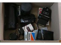 Two Cameras,Flash unit,Lenses
