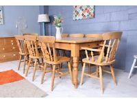 DELIVERY OPTIONS - 6 1/2 FT FARMHOUSE PINE TABLE & 8 BEECH FIDDLE BACK CHAIRS