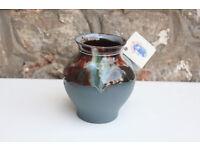 Nicely glazed handmade vase by Rossa Pottery, Ireland. Irish Studio Pottery Art Pottery
