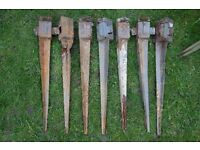 7 Used Fence Post Grip Spikes 75x75x750mm / Fence Base Repair Anchors