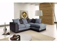 ***Jumbo cord Fabric*** Brand New Byron Cord + Leather Corner Sofa Or 3 +2 Seater Sofa