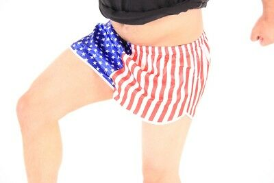 Adult Men's Work Out Jogging USA United States American Flag Running (State Flag Running Shorts)