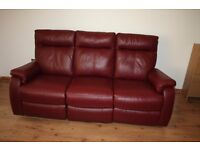 Real leather three seats electric sofa deep red with FREE DELIVERY only £320