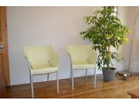 Pair of Kartell Dr No pale green chair by Phillippe Starck