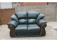 Green Two Seater Leather Sofa