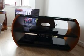 TV Stand and 2 Lamp Tables Walnut & Black Glass Jual Furnishings