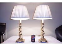 PAIR OF VINTAGE HEAVY SOLID BRASS TABLE LAMPS WITH VINTAGE SHADES