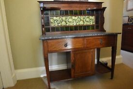 VICTORIAN OAK AND MARBLE WASH STAND