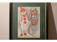 Vintage Framed Clown Print Joe Grimaldi and Franny Price Circus C.1930 Harlequin Art Picture Antique
