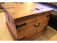 Large wooden storage chest/coffee table