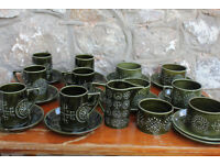 Vintage Portmerrion Totem Tea Set 25 Piece Coffee Service Portmeirion Green Retro Unusual Cup Saucer