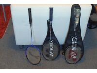 Awesome Selection of 3 Badmintion Racquets. Available for immediate sale as set or separately.