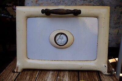 Antique Enamel and Iron Stove Oven Door with Heat Gauge and Wood Handle
