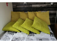 big cushion pads and corded cushion covers 60cm x 60cm yellow and green £6 each