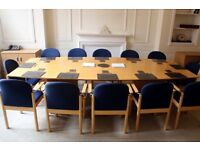 large boardroom/dining table with 18 chairs free if picked up