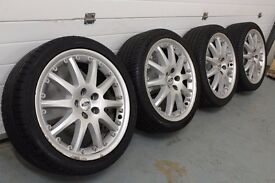 """Genuine Ford/Ronal 18"""" 5x108 split rim alloy wheels + four good tyres! Citreon Renault Connect"""