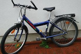 "blue boys bike, 60cm frame, 24""wheels, shimano 7 speed gears, dynamo-light, rear rack"