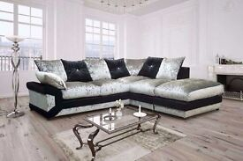 - BRAND NEW - CRUSH VELVET FABRIC CORNER OR 3 AND 2 SEATER SOFA SET AVAILABLE IN GREY AND BROWN