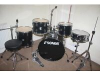 "Sonor Extreme Force Black 5 Piece Complete Drum Kit (22"" Bass) + Sabian Solar Cymbals and Hi Hat Set"