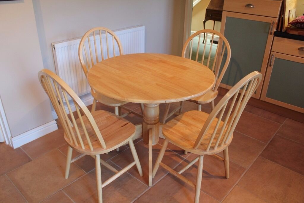 round pine drop leaf dining table and four chairs. beautiful ideas. Home Design Ideas