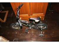 Unisex Black Fire Power Bicycle Bike With Stabilisers