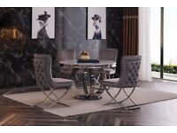 Round 130 cm Grey Marble Dining Table with 4 Chairs Set, Velvet Chairs in Grey