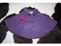 Lovely girls M&S Purple cape with flower detailing 2-3 years