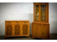 VINTAGE TWO PIECE YEW WOOD LIVING ROOM CORNER & SIDEBOARD CABINET SET
